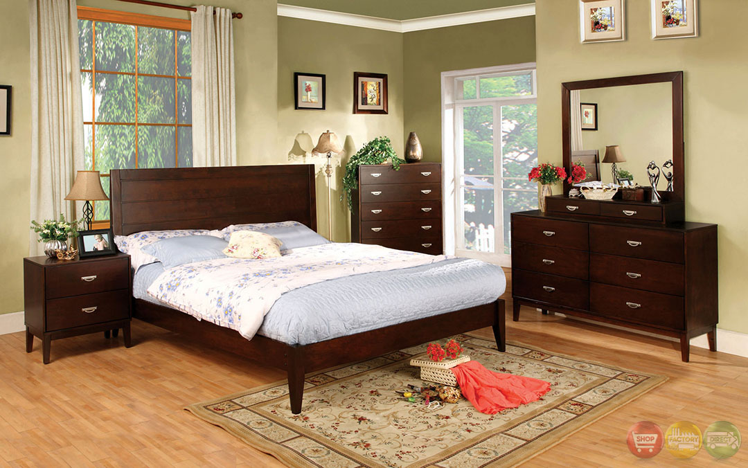 crystal lake contemporary brown cherry bedroom set with brushed nickel pulls cm7910
