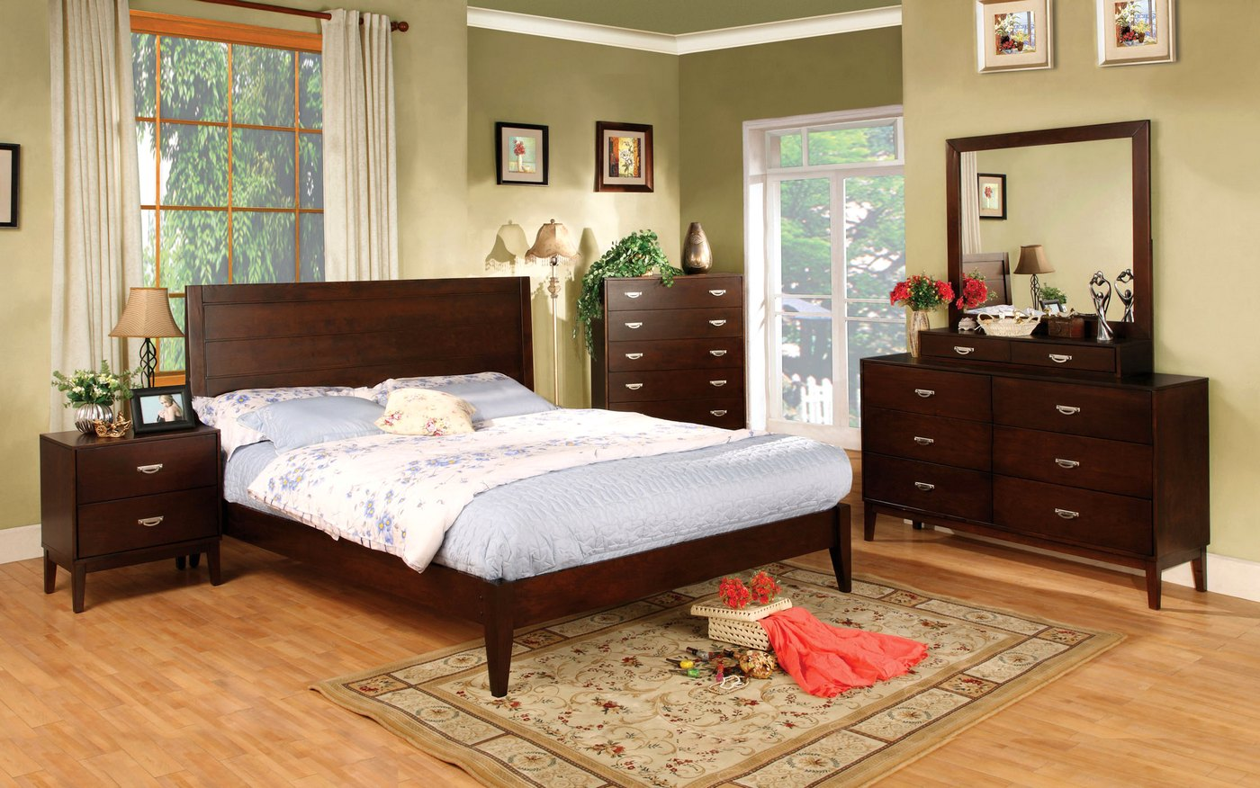 Crystal Lake Contemporary Brown Cherry Bedroom Set with ...
