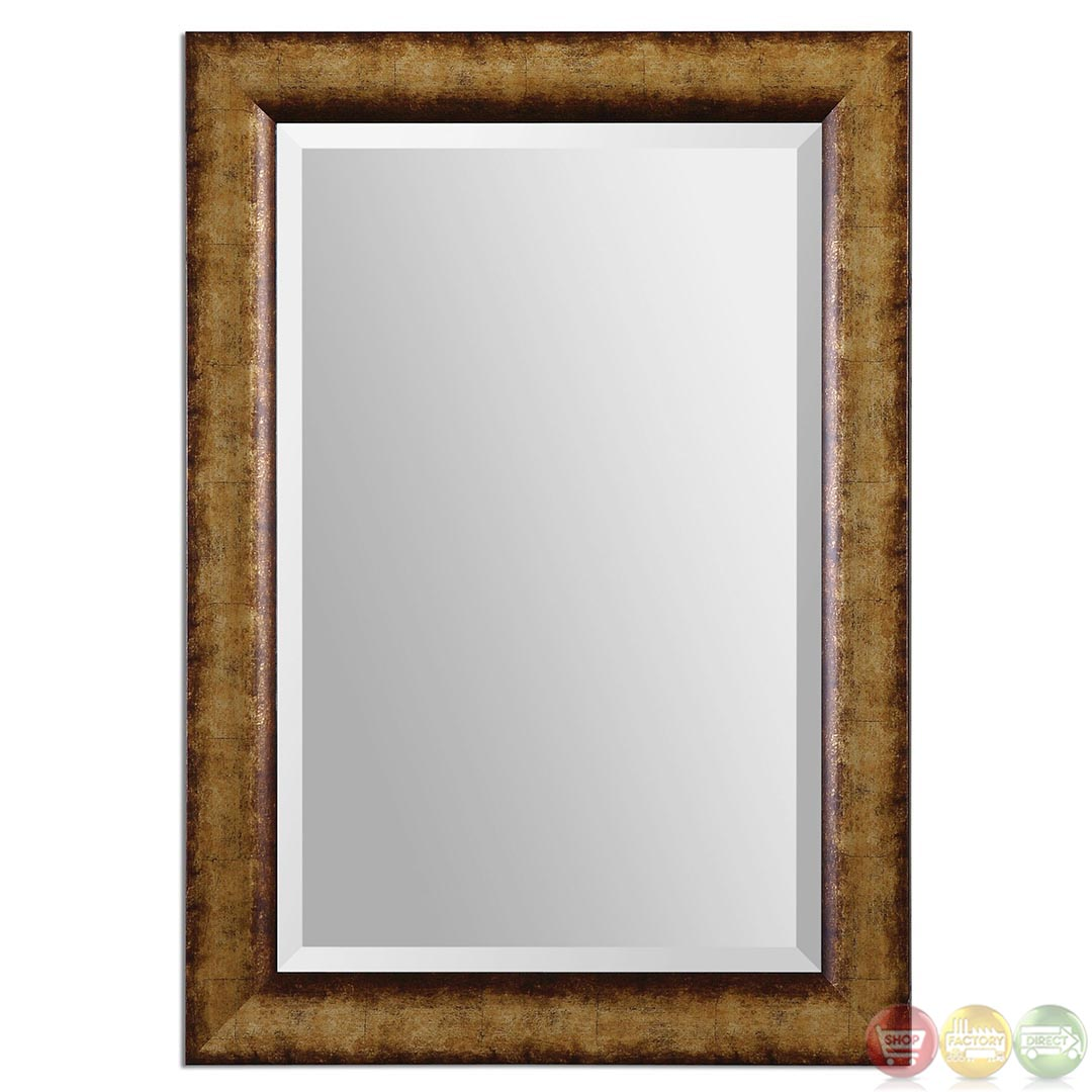 Cullen traditional heavily burnished champagne gold mirror for Traditional mirror