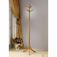 Curved Feet Traditional Two Tier Storage Oak Coat Rack