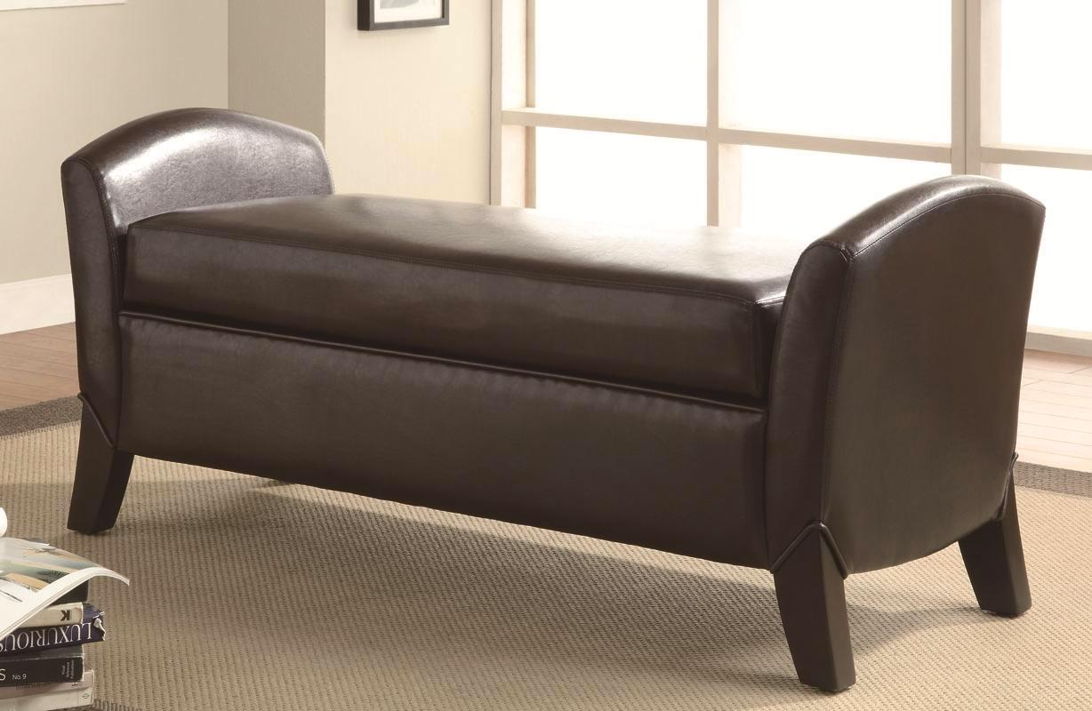 Curved Leg Transitional Vinyl Upholstery Storage Bench