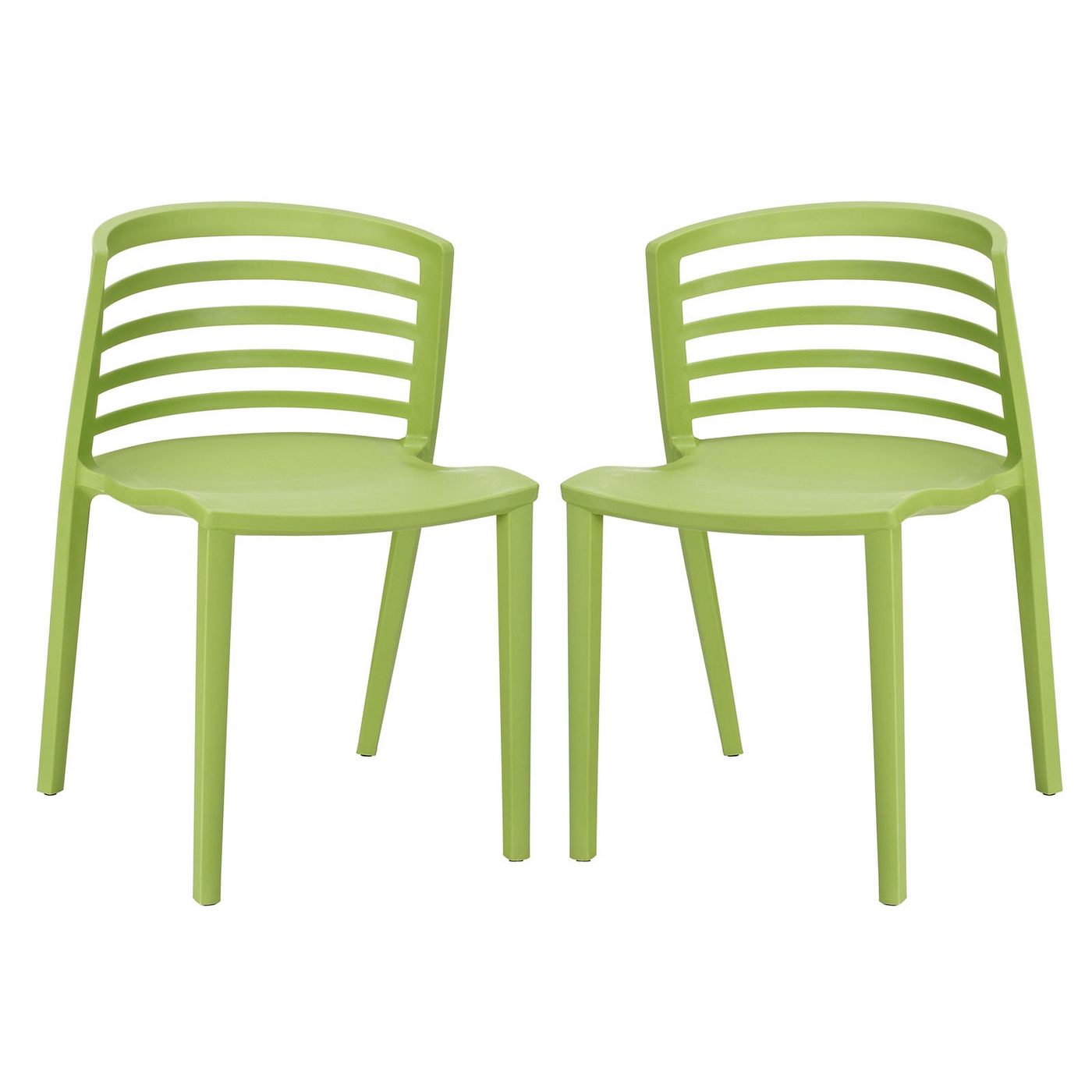 Curvy contemporary stackable molded plastic dining chairs for Contemporary plastic dining chairs