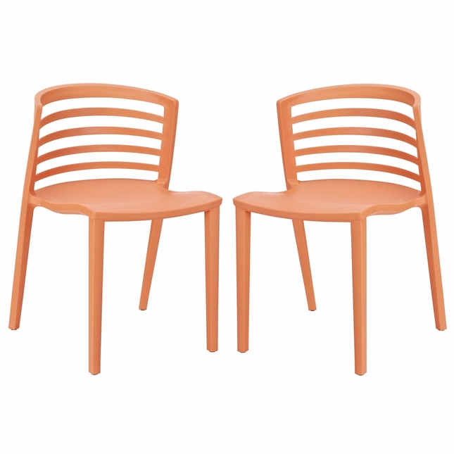 Amazing Set Of 2 Curvy Contemporary Stackable Molded Plastic Dining Camellatalisay Diy Chair Ideas Camellatalisaycom