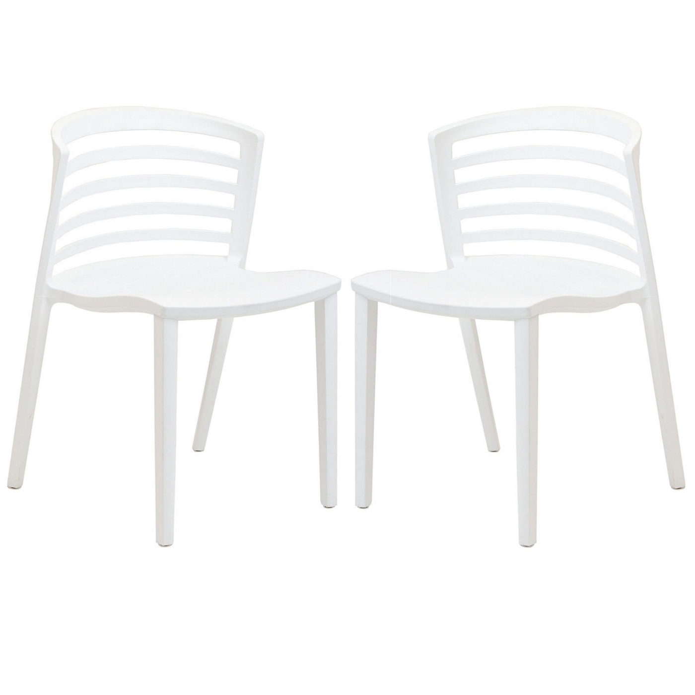 Set of 2 curvy contemporary stackable molded plastic for Contemporary plastic dining chairs