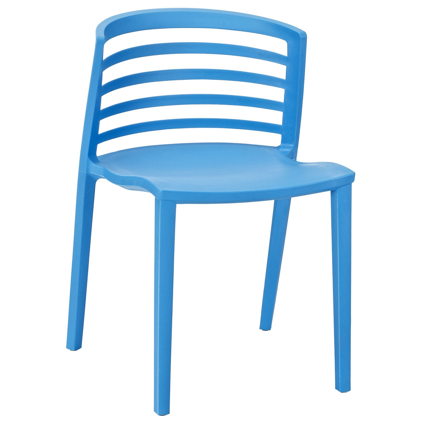curvy modern multi purpose molded plastic side chair blue