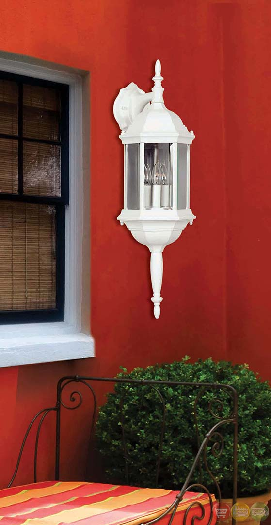 Custom Fit Aluminum Frame 3 Light White Wall Lantern