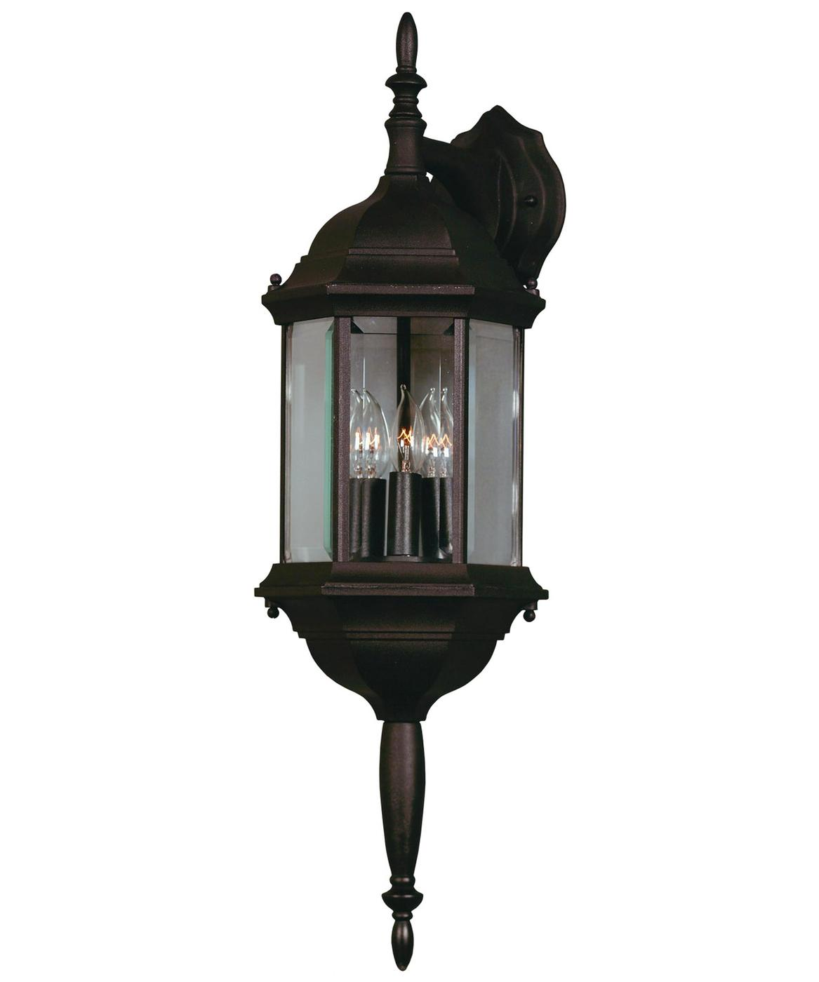 Wall Lantern Replacement Glass : Custom Fit Black 3 Light Glass Lampshaped Wall Lantern