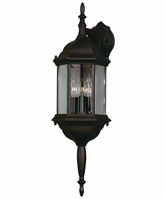 Custom Fit Black 3 Light Glass Lampshaped Wall Lantern