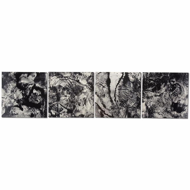 Cyber Space Set of 4 Black & White Metal Wall Art L0030