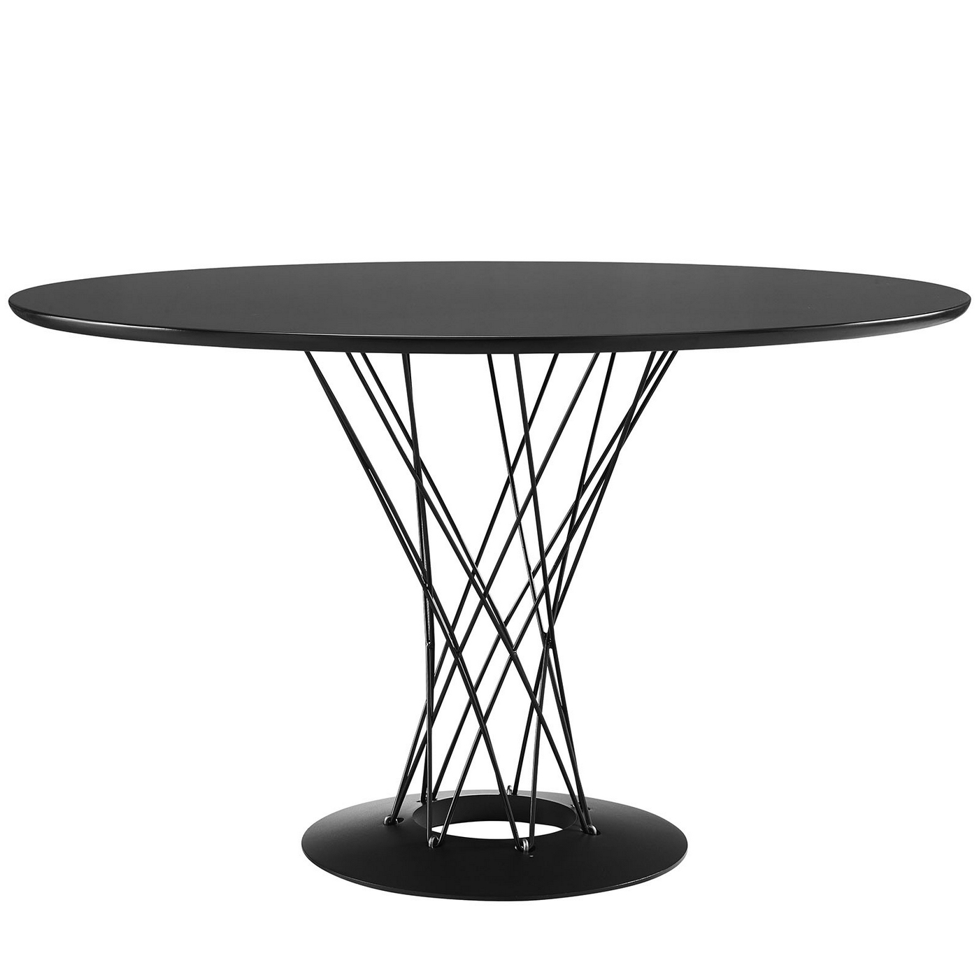 cyclone modern 47 wood top dining table with steel wired pedestal black. Black Bedroom Furniture Sets. Home Design Ideas