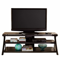 """Cyndi 70"""" Curved Black Metal TV Console With Smoked Glass Shelves"""