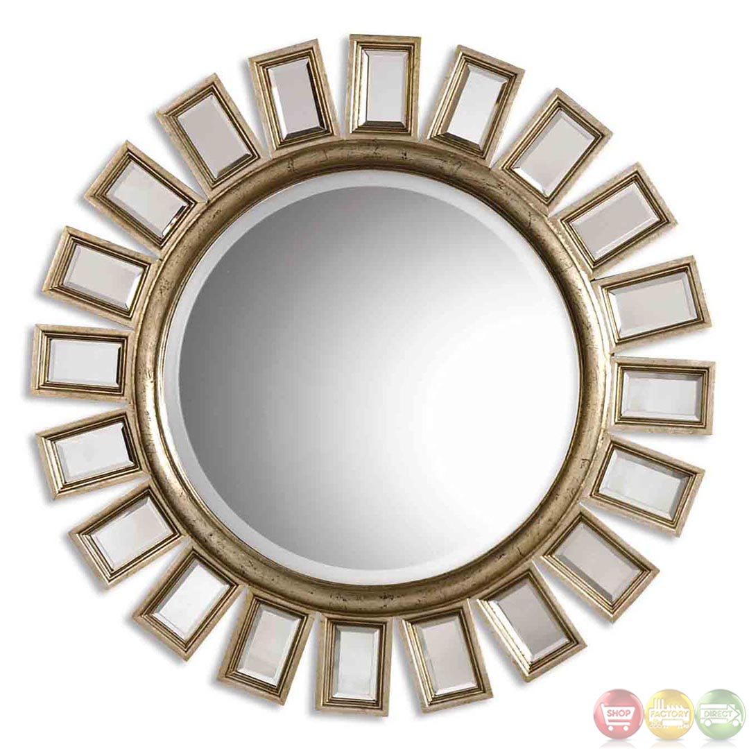 Cyrus modern distressed silver leaf round mirror 14076 b for Round mirror