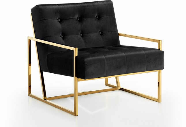 Damien Contemporary Button Tufted Black Velvet Accent Chair With Gold Steel  Base