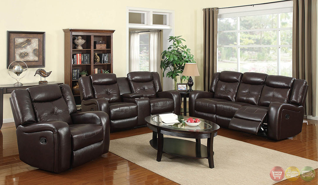 dan brown bonded leather motion living room set rpcmo137. Black Bedroom Furniture Sets. Home Design Ideas