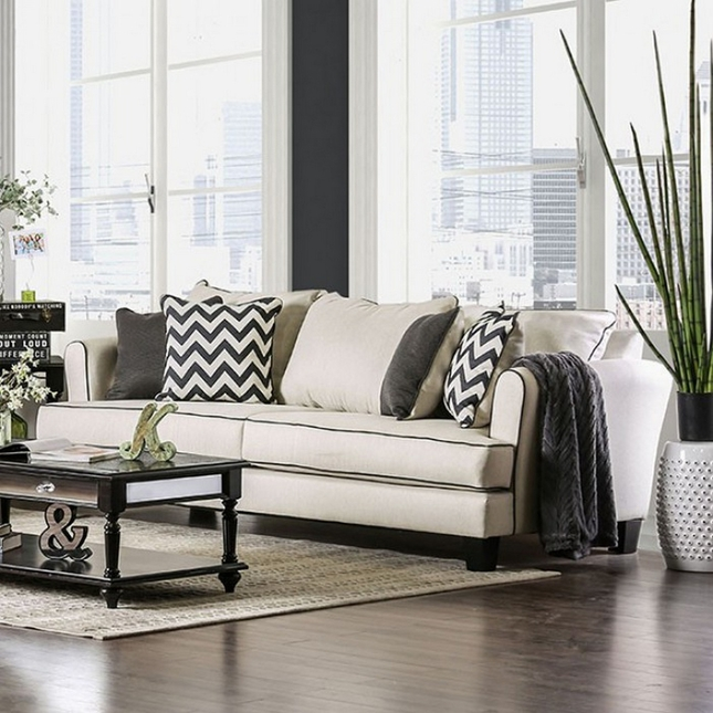 10 Best Collection Of Off White Leather Sofas: Daphne Transitional Off-White Linen Sofa With Black Welt