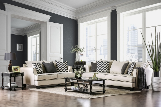 Cool Daphne Transitional Off White Linen Sofa Set W Black Welt Uwap Interior Chair Design Uwaporg