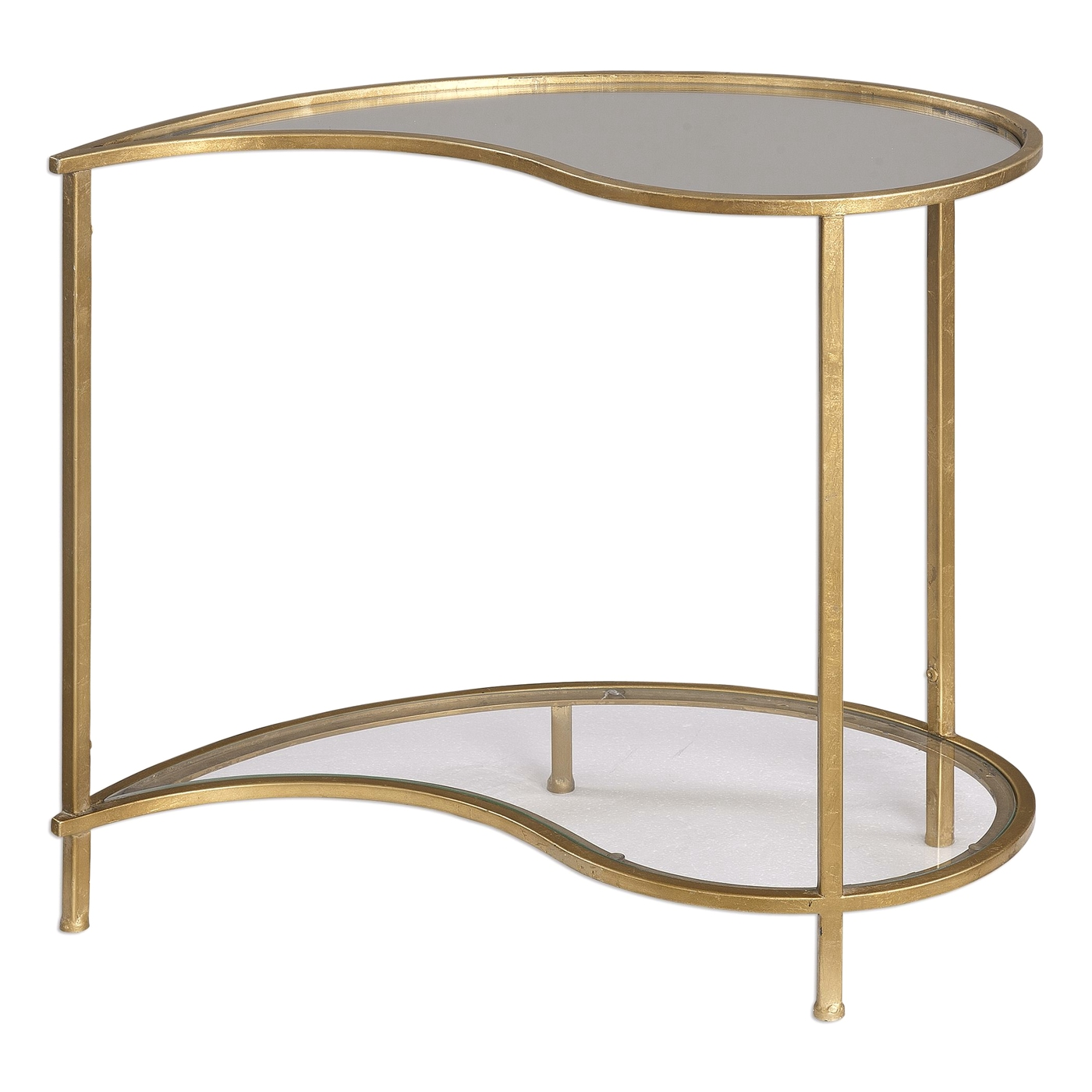 darcie teardrop gold finished iron side table with mirrored top and glass shelf. Black Bedroom Furniture Sets. Home Design Ideas