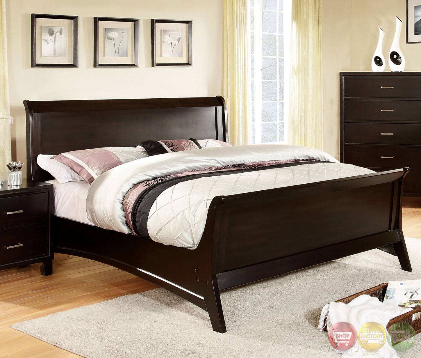 Darien Contemporary Espresso Sleigh Bedroom Set with Wooden Headboard CM7818