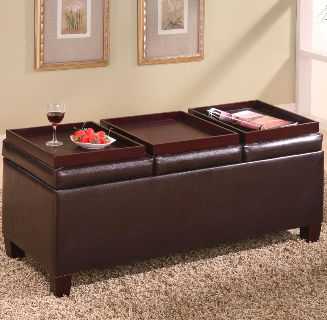 Dark Brown Faux Leather Contemporary Storage Ottoman
