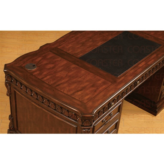 Union Hill Double Pedestal Executive Desk With Leather