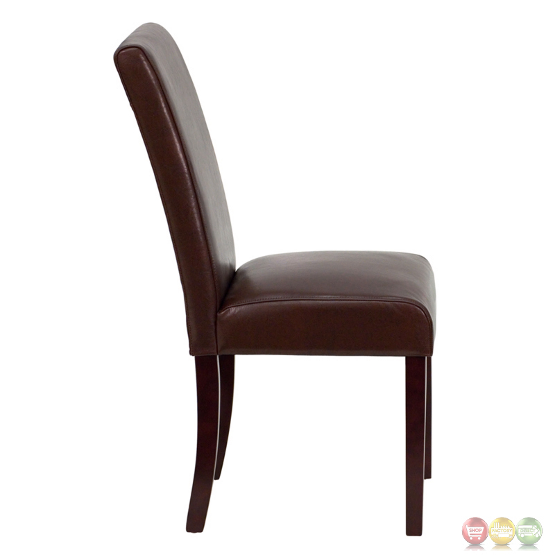 Upholstered Dining Chair Parsons Armless Brown Design: Dark Brown Leather Upholstered Parsons Chair