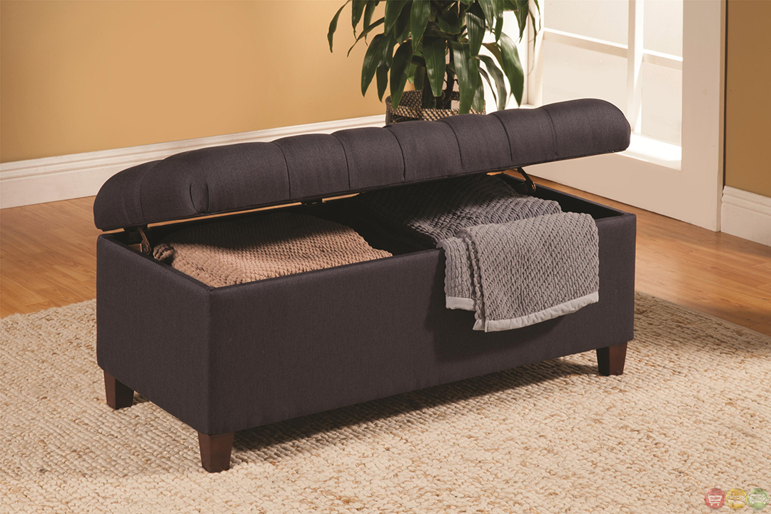 Dark Brown Transitional Ottoman Tufted Storage Bench