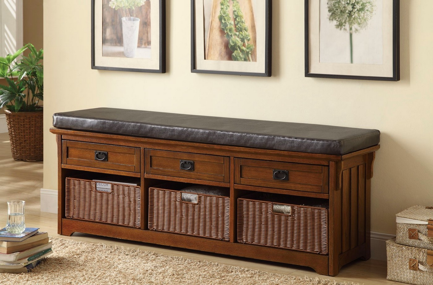Dark Brown Upholstered Oak Bench With Basket Or Drawers