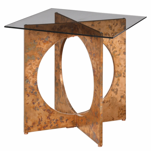 Darry Crossing Squares Copper Sheet Accent Table With Clear Tempered - Copper top accent table