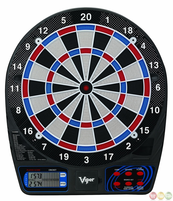 """Carmelli Viper 777 Electronic 15.5"""" Soft Tip Dartboard with 26 Built-In Games"""
