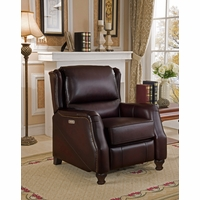 Davis Traditional Genuine Dark Brown Leather Powered Reclining Chair