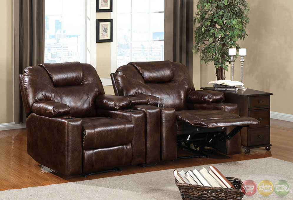Davos Contemporary Dark Brown Recliner Chair with Cup ...