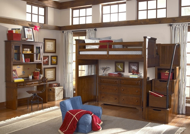 Dawsons Ridge Heirloom Cherry Open Loft Frame Twin Bed