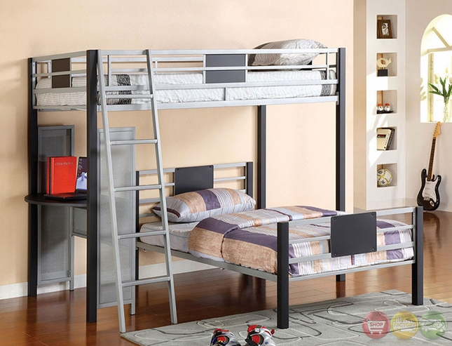 Daytona Beach Contemporary Silver and Black Loft Bed with Sturdy Side Desk CM-BK1030