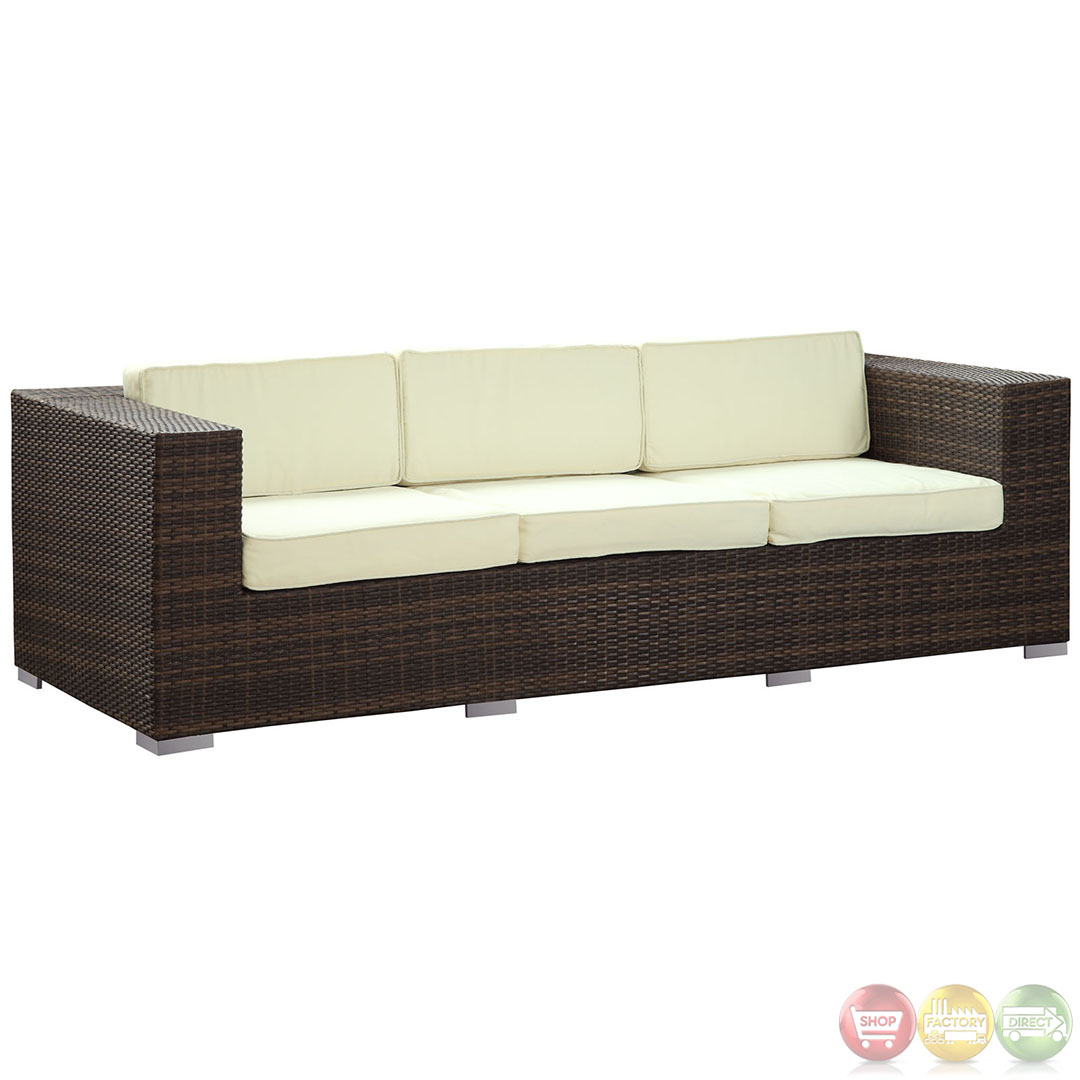 Daytona modern outdoor wicker patio sofa with water and uv for Outdoor sofa