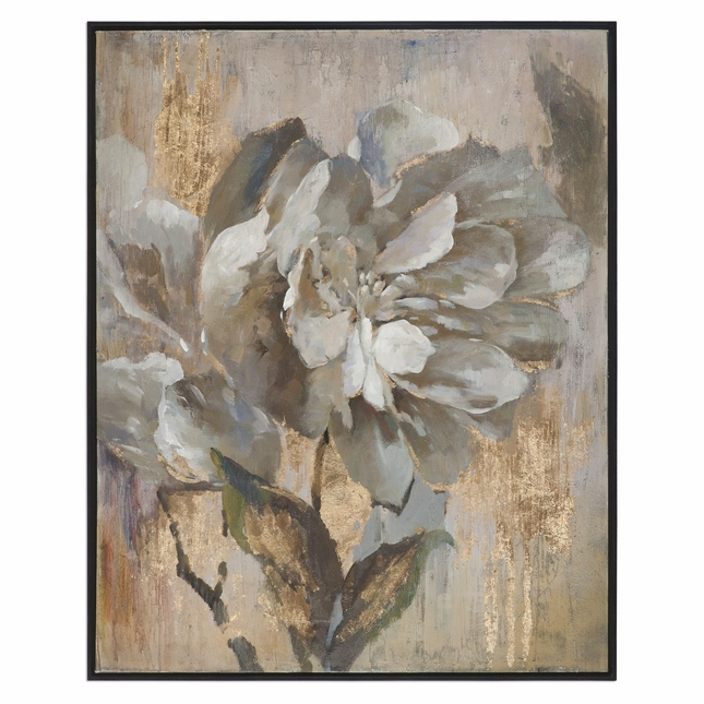 Dazzling Gray Gold Floral Wall Art On Canvas With Narrow Black Frame ...