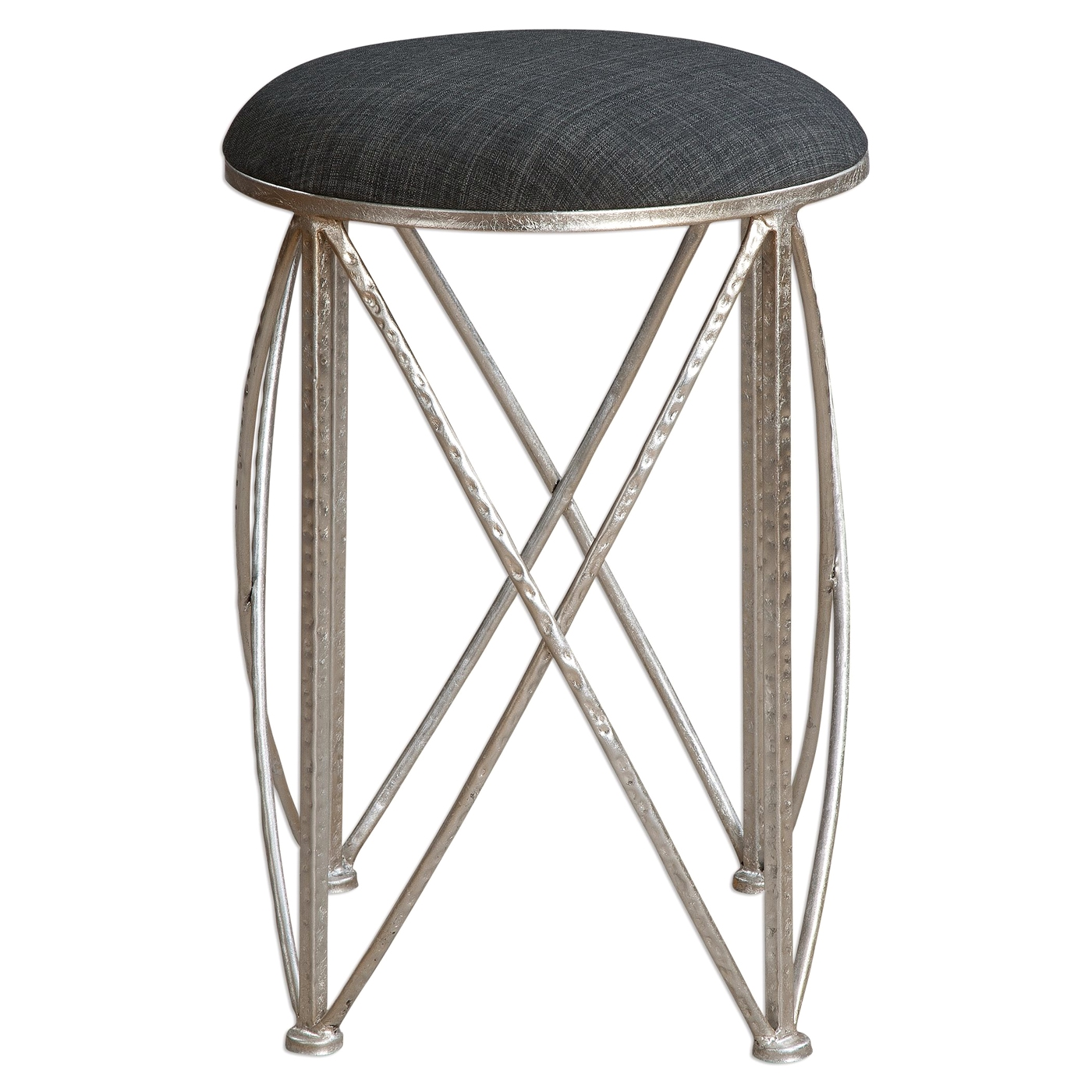 Delaine Small Silver Hammered Iron Stool With Dark