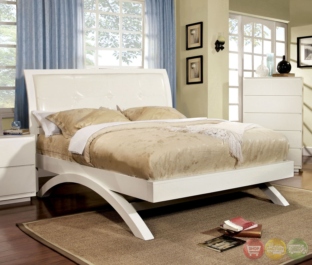 Delano Contemporary White Platform Bedroom Set With Padded Leatherette Headboard Cm7824wh