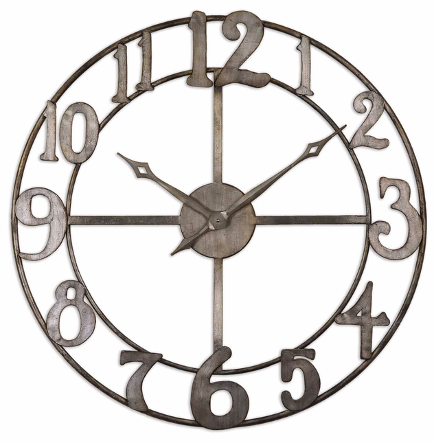 Delevan Antique Silver Leaf Wall Clock  06681