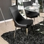 """Delilah 5-pc Contemporary Black 50"""" Glass Top Dining Set w/ Mirrored Base"""