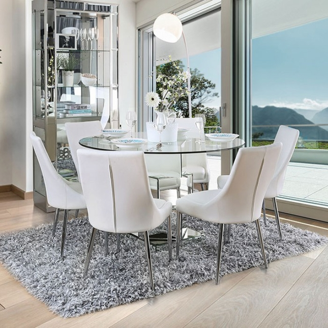 "Delilah 5-pc Contemporary White 50"" Glass Top Dining Set w/ Mirrored Base"