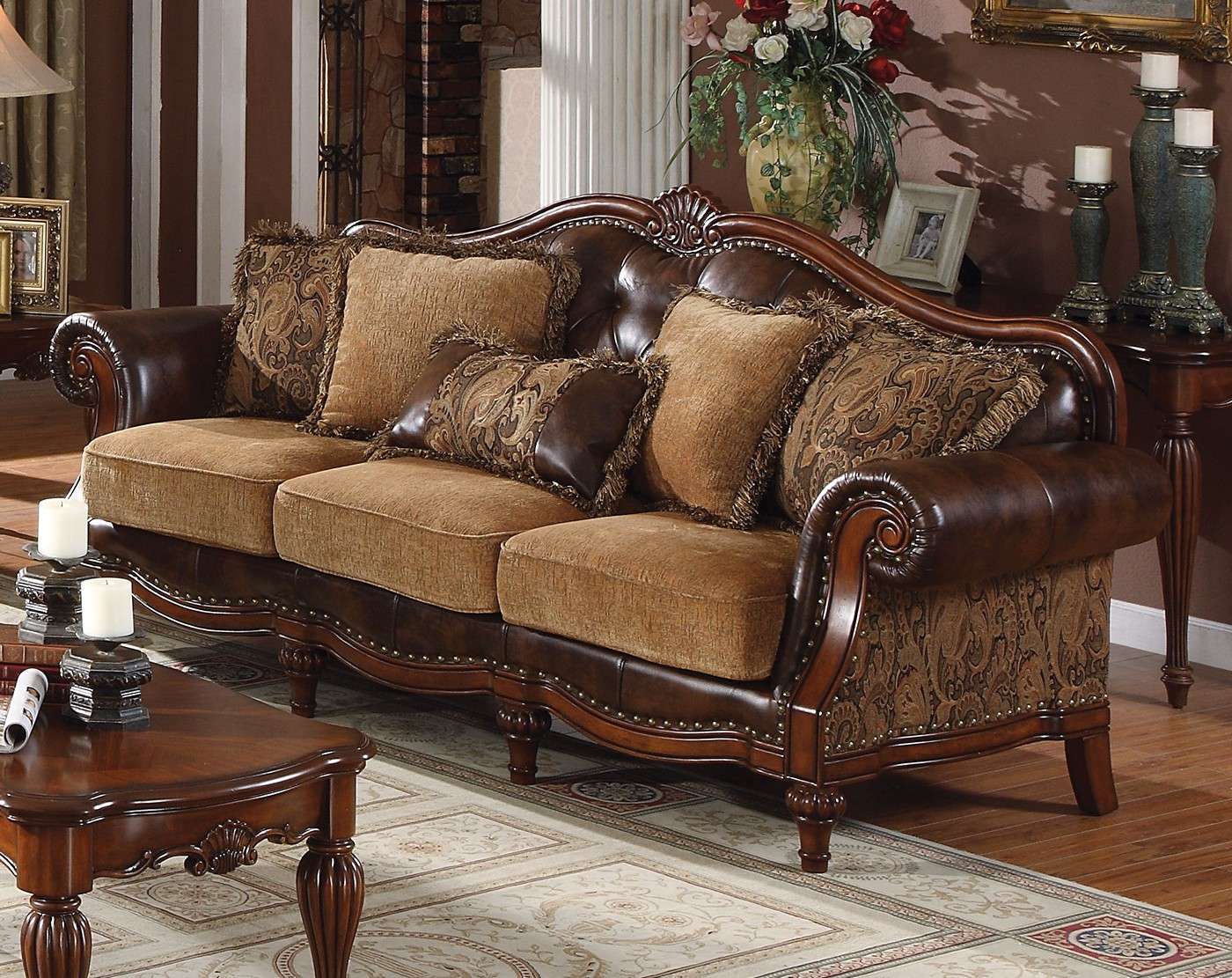 Delphina traditional sofa loveseat in brown faux leather for Traditional sofas and loveseats