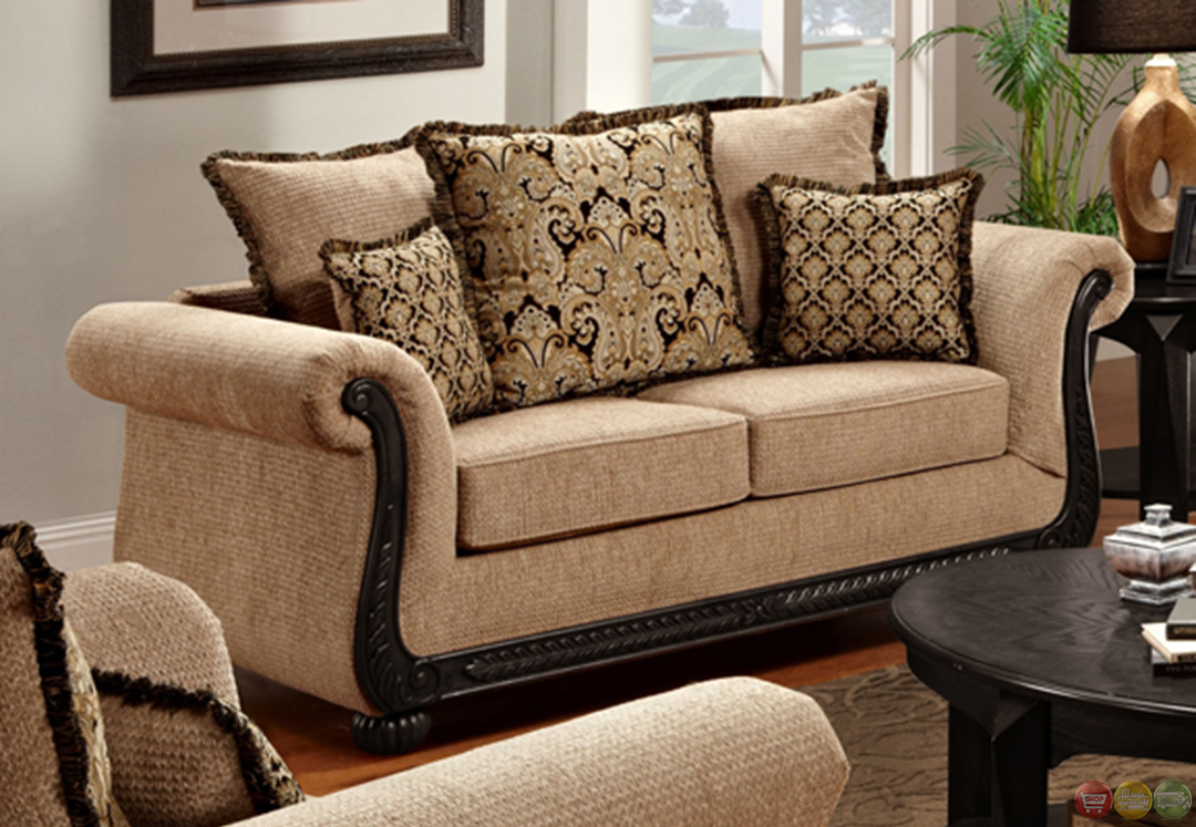 Delray taupe chenille sofa and loveseat set with exposed wood trim Chenille sofa and loveseat
