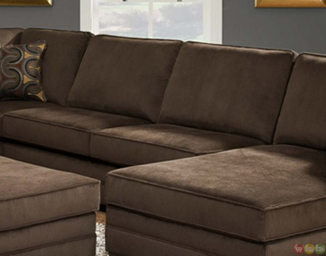 deluxe beluga u shaped brown sectional sofa by simmons. Black Bedroom Furniture Sets. Home Design Ideas