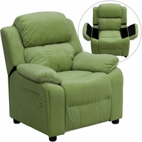 Deluxe Contemporary Avocado Microfiber Kids Recliner with Storage Arms