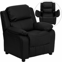 Deluxe Contemporary Black Leather Kids Recliner with Storage Arms