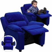 Deluxe Contemporary Blue Microfiber Kids Recliner with Storage Arms