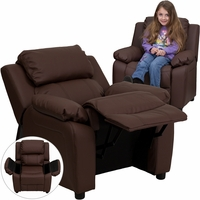 Deluxe Contemporary Brown Leather Kids Recliner with Storage Arms