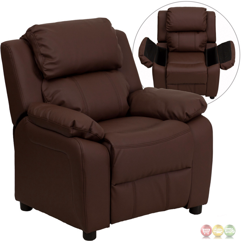 deluxe heavily padded contemporary brown leather kids recliner with storage arms bt 7985 kid brn. Black Bedroom Furniture Sets. Home Design Ideas