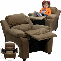 Deluxe Contemporary Brown Microfiber Kids Recliner with Storage Arms