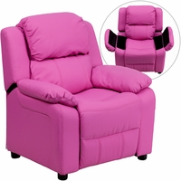 Deluxe Contemporary Hot Pink Vinyl Kids Recliner with Storage Arms